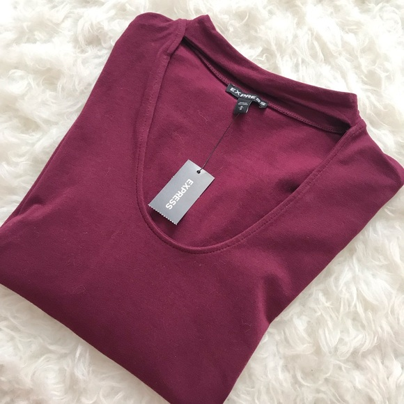 Express Tops - Express long sleeve burgundy shirt size Medium